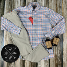 Load image into Gallery viewer, Southern Marsh Chambers Performance Gingham Navy and Coral Dress Shirt M-2X