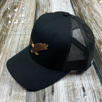 EAGLES Leather Patch Snapback Hat [BLACK]