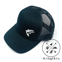 BASS FISHING Embroidered Snapback Hat [BLACK]