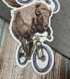 Dark Cycle Buffalo on a Bike Bicycle Vinyl Sticker