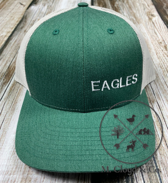 EAGLES in White • Green Snapback Hat