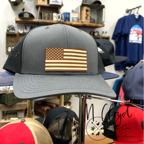 Diamond Bills Midnight Leather USA Flag Patch Hat