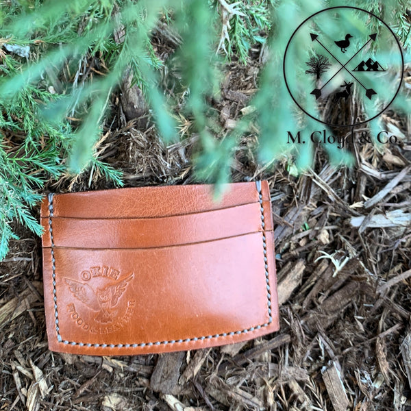 Okie Wood & Leather Flat Tanned Leather Card Wallet