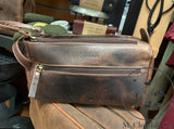 KODIAK LEATHER Small Toiletry Bag Dopp Kit [DARK WALNUT]