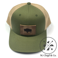 Range Leather Co. Buffalo Snapback Hat [MOSS KHAKI]