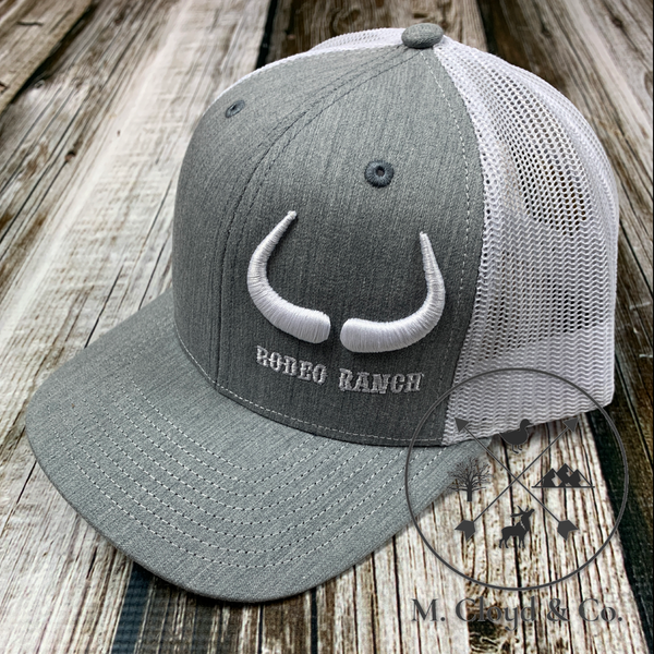 Rodeo Ranch Big Horns 3D Grey & White Snapback Hat