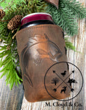 Jimmyrockit Leather Can Cooler Jumping Fish
