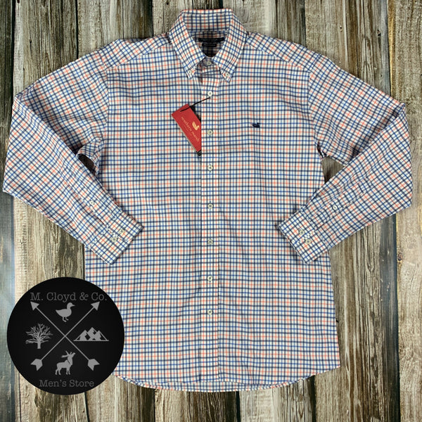 [50% off] Southern Marsh Chambers Performance Gingham Navy and Coral Dress Shirt M-2X