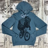 Dark Cycle Buffalo on Bicycle Hooded Hoodie Pullover Size M, XL, 2X
