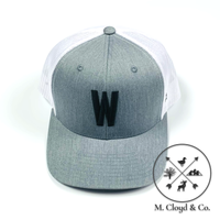 W in Black • Grey/White Snapback Hat