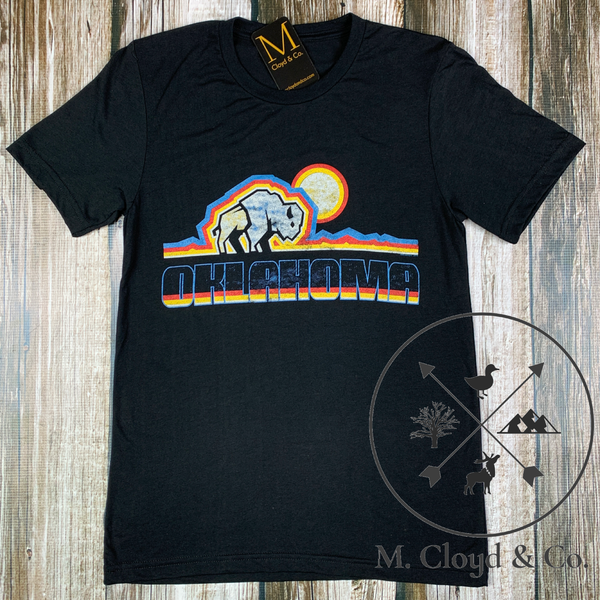 Oklahoma Buffalo Sunset Black Tee Size S & XL