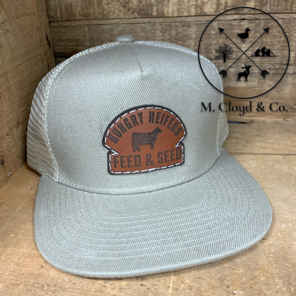 Leather Patch Snapback Tan Hat [HUNGRY HEIFERS FEED & SEED]