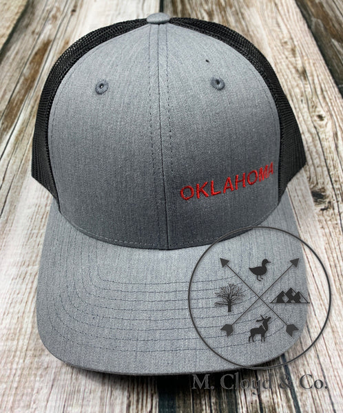 OKLAHOMA in Red • Grey Snapback Hat