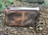 KODIAK LEATHER Large Toiletry Bag Dopp Kit [DARK WALNUT]