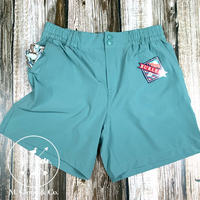 Burlebo [SHORTS] Chalky Mint Flying Duck Pockets Performance Shorts Size L