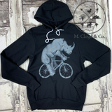 Dark Cycle Rhino on Bicycle Hooded Hoodie Pullover Size S, M, L, XL, 2X