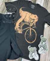Dark Cycle T Rex on a Bike Bicycle Tee Size L & 2X