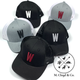 W in Cardinal • Grey/White Snapback Hat