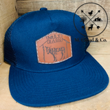 Leather Patch Snapback Navy Hat [MULE BARN]