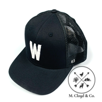 W in White • Black Snapback Hat