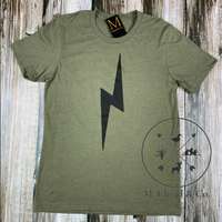 Tyler Kingston Lightning Bolt Olive Tee Size S, M, L