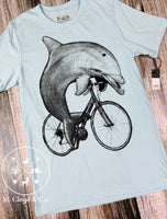 Dark Cycle Dolphin on Bike Bicycle Tee Size S, M, L, XL, 2X