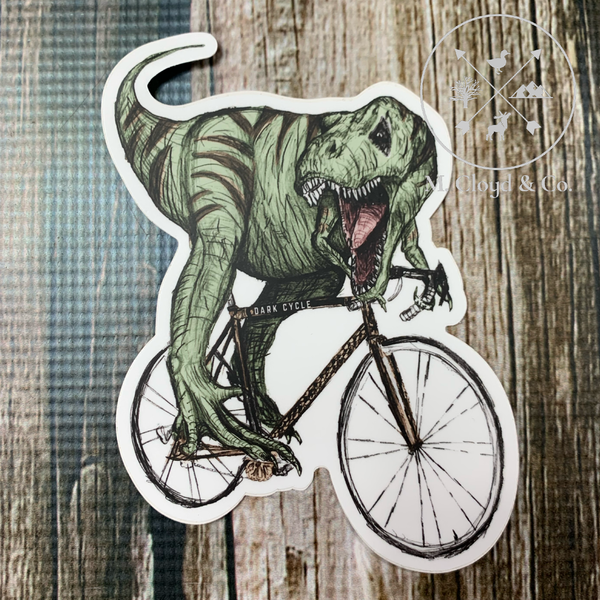 Dark Cycle T Rex on a Bike Bicycle Vinyl Sticker