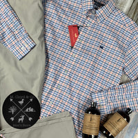 Southern Marsh Chambers Performance Gingham Navy and Coral Dress Shirt M-2X