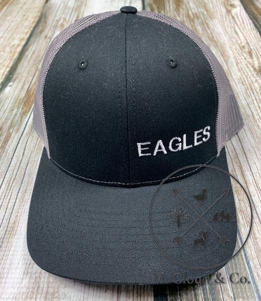 EAGLES in White • Black Snapback Hat