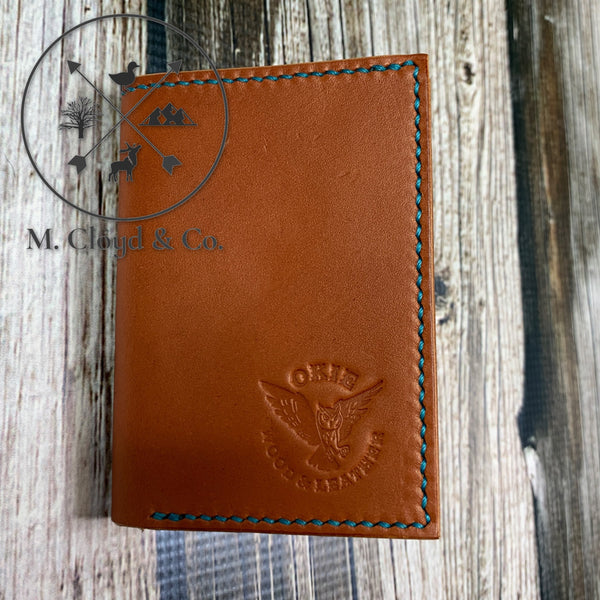 Okie Wood & Leather Natural Tan Tri-Fold Wallet