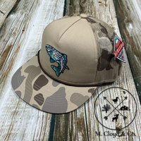 Burlebo Hat Retro Camo Trout Snap Back Rope Cap