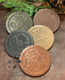 Jimmyrockit Leather Coaster OKLAHOMA FOOTBALL CRISSCROSS *Pick Your Color*