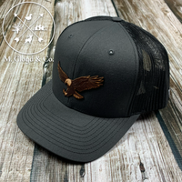 EAGLES Leather Patch Snapback Hat [CHARCOAL/BLACK]