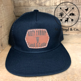 Leather Patch Snapback Black Hat [DIRY COWBOY LAND & CATTLE]