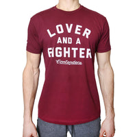 Contenders Clothing Lover & Fighter Maroon Tee Size M, L, XL