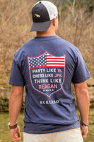 Burlebo USA Party Like W, Dress Like JFK Navy Tee Size S, M, L, XL, 2X