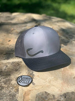 DIAMOND BILLS Fish Hook Shallows Tri Grey Snapback Hat