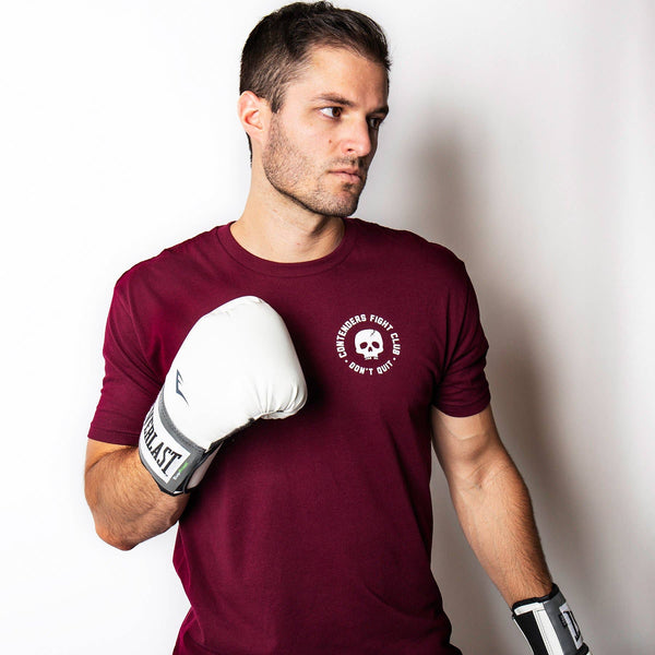 Contenders Clothing Fight Club Skull Crack Maroon Tee Size M, L, XL