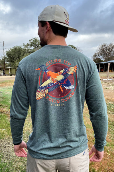 Burlebo Suns Up Birds Down Long Sleeve Tee Size S, M, L, XL, 2X