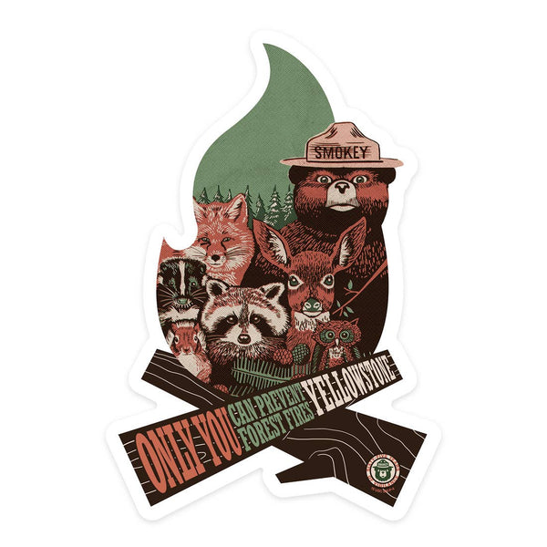 Wyoming Yellowstone National Park Smokey Bear Sticker