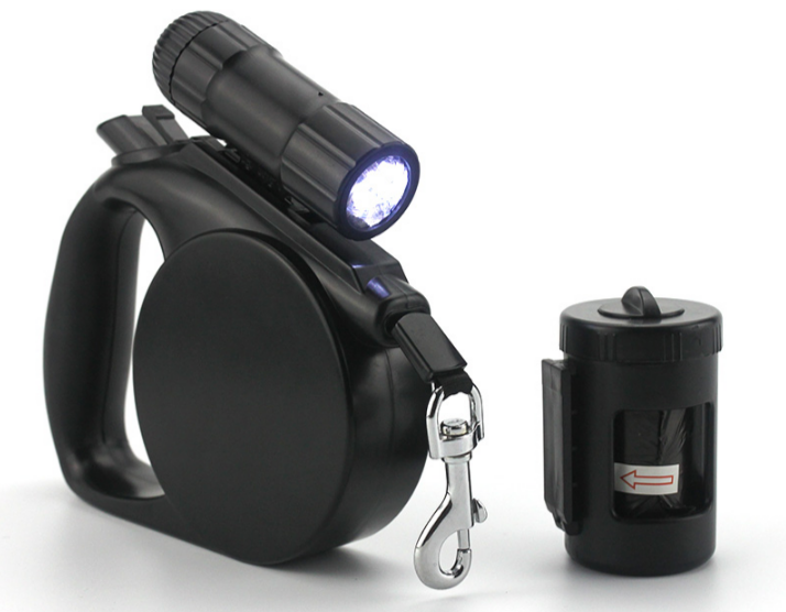 3 In 1 Dog Leash with Light and Bag Holder