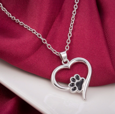 Dog Paw Print & Heart Shaped Pendant Necklace