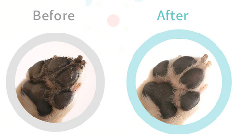 before and after cleaning dirty paws