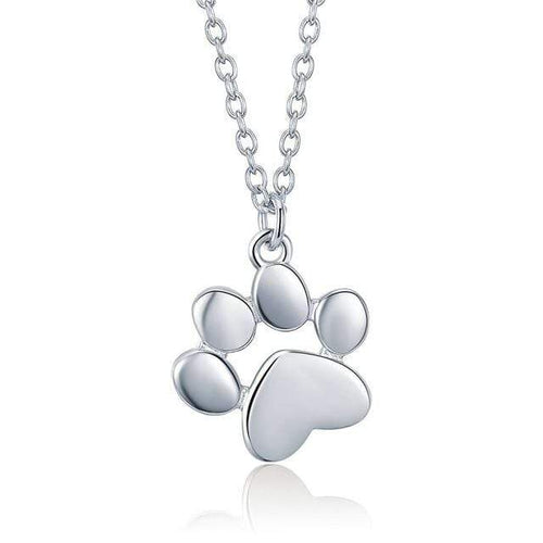 925 Sterling Silver - Cute Dog Paw Pendant Necklace