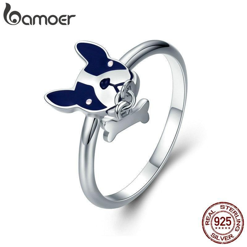 925 Sterling Silver French Bulldog Ring with & Dog Bone Charm
