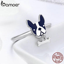 Load image into Gallery viewer, 925 Sterling Silver French Bulldog & Dog Bone Rinl