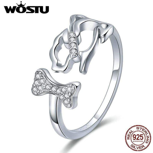 Adjustable 925 Sterling Silver - Dog Chasing Bone Ring