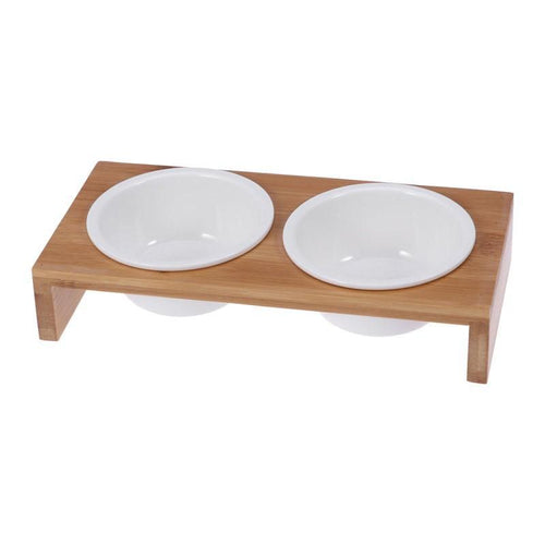 Ceramic Dog Food and Water Bowls with Bamboo Frame
