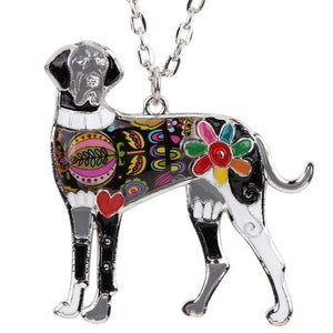 "Colorful ""Ears Down"" Great Dane Necklace"