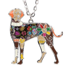 "Load image into Gallery viewer, Colorful ""Ears Down"" Great Dane Necklace"